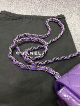 AUTHENTIC CHANEL 2017 PURPLE QUILTED PATENT LEATHER SQUARE MINI CLASSIC FLAP BAG image 7