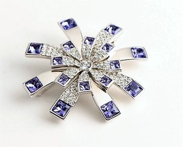 Swarovski RARE Amethyst Crystals Starburst Flower Brooch Authentic  Swan... - $164.76