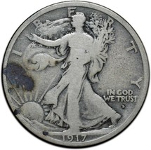 1917D OBV Walking Liberty Half Dollar 90% Silver Coin Lot# A 408