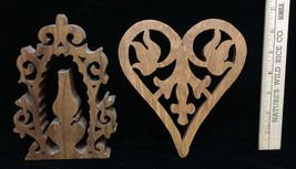 Lantern Heart Scroll Work Ornament Decor Wooden Lace Cut Out Wood Lot 2 ... - $7.91