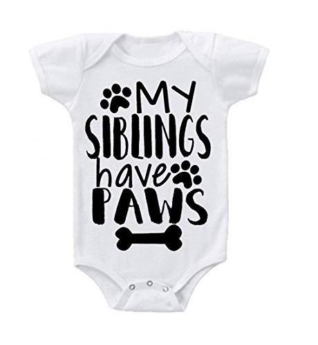 Primary image for Unisex Baby My Siblings Have Paws Baby Bodysuit Romper 0-3 Months White