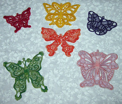 6 Lace, machine embroidered, applique Colorful Butterflies - $7.50