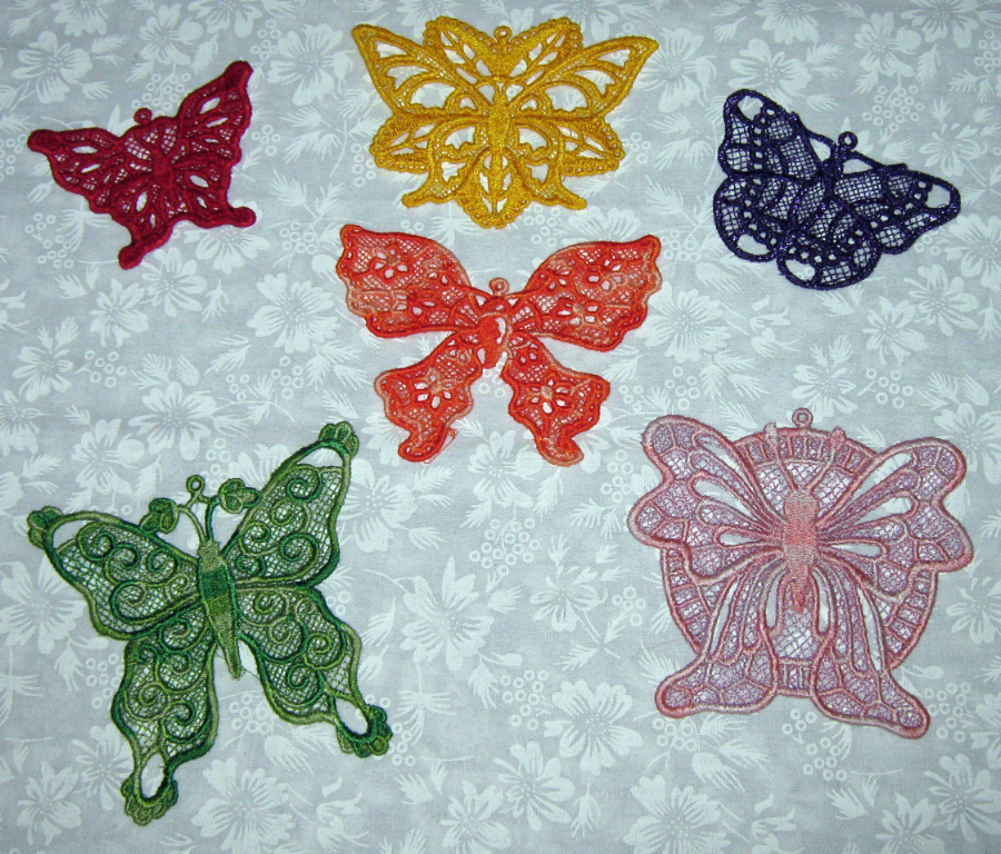 6 Lace, machine embroidered, applique Colorful Butterflies