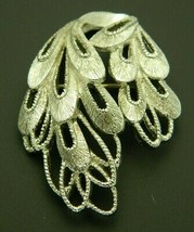 Silver Tone Signed MONET Brooch Pin Openwork Abstract Vintage B - $19.80
