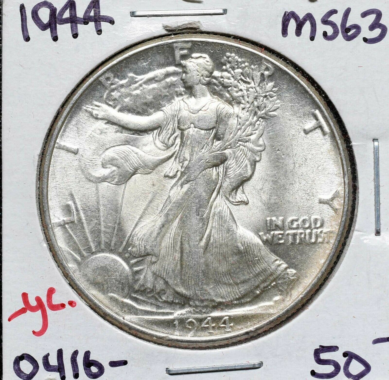 1944 Walking Liberty Half Dollar 90% Silver Coin Lot# A 576