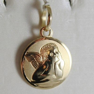 SOLID 18K YELLOW GOLD PENDANT MEDAL MINI GUARDIAN ANGEL ENGRAVABLE MADE IN ITALY