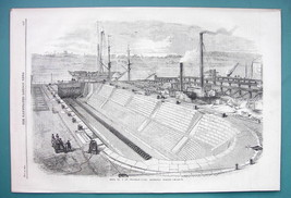 1858 Woodcut Engraving - LONDON Chatham Yard Dock No. 2 England - $11.10
