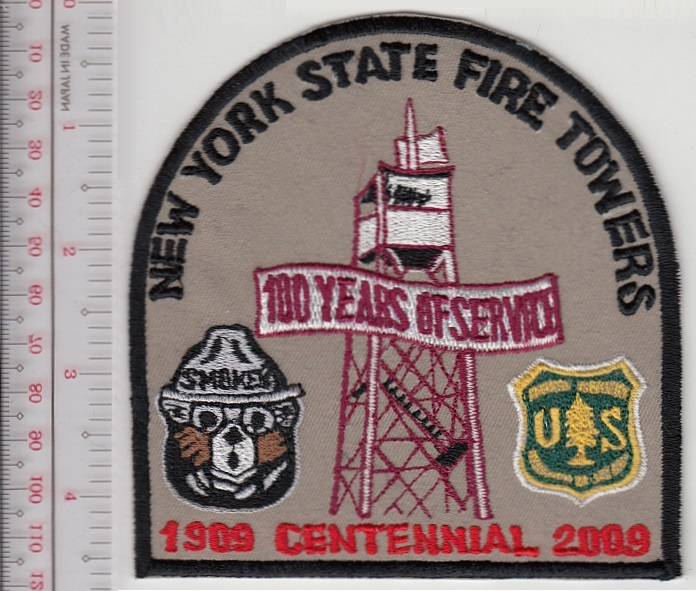 Smokey the bear usfs new york state fire towers lookout 100 years service patch khaki  10.99