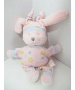 Kids II Pink plush small bunny rabbit Rattle yellow flowers blue stars h... - $19.79
