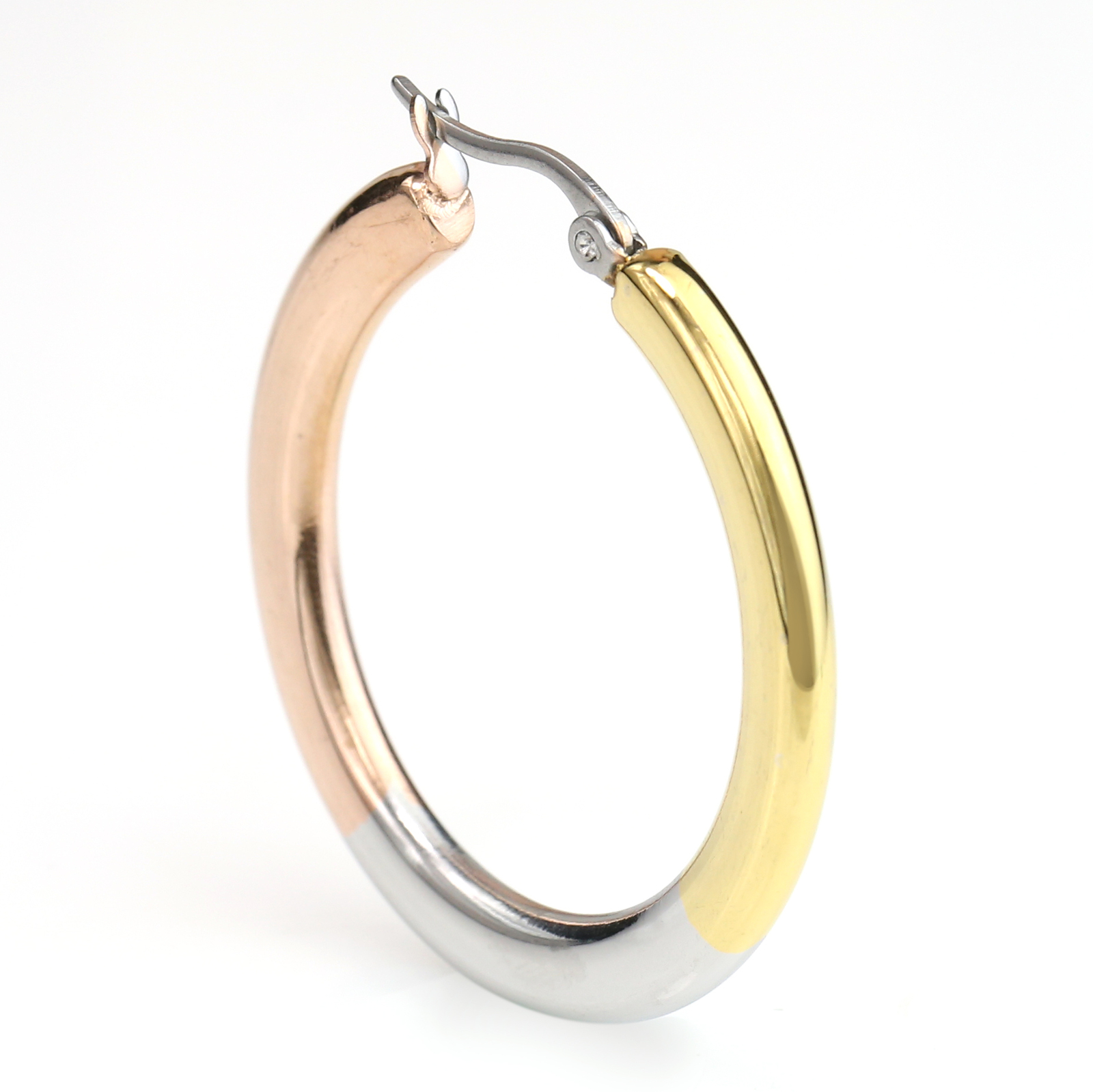 Sleek Polished Tri-Color Silver, Gold & Rose Tone Hoop Earrings- United Elegance