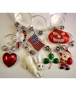 Holiday Wine Charms Beverage Markers Christmas ... - $4.50