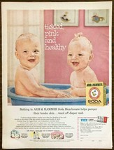 1961 Arm & Hammer Baking Soda Print Ad Tickled Pink & Healthy Twin Babie... - $11.01