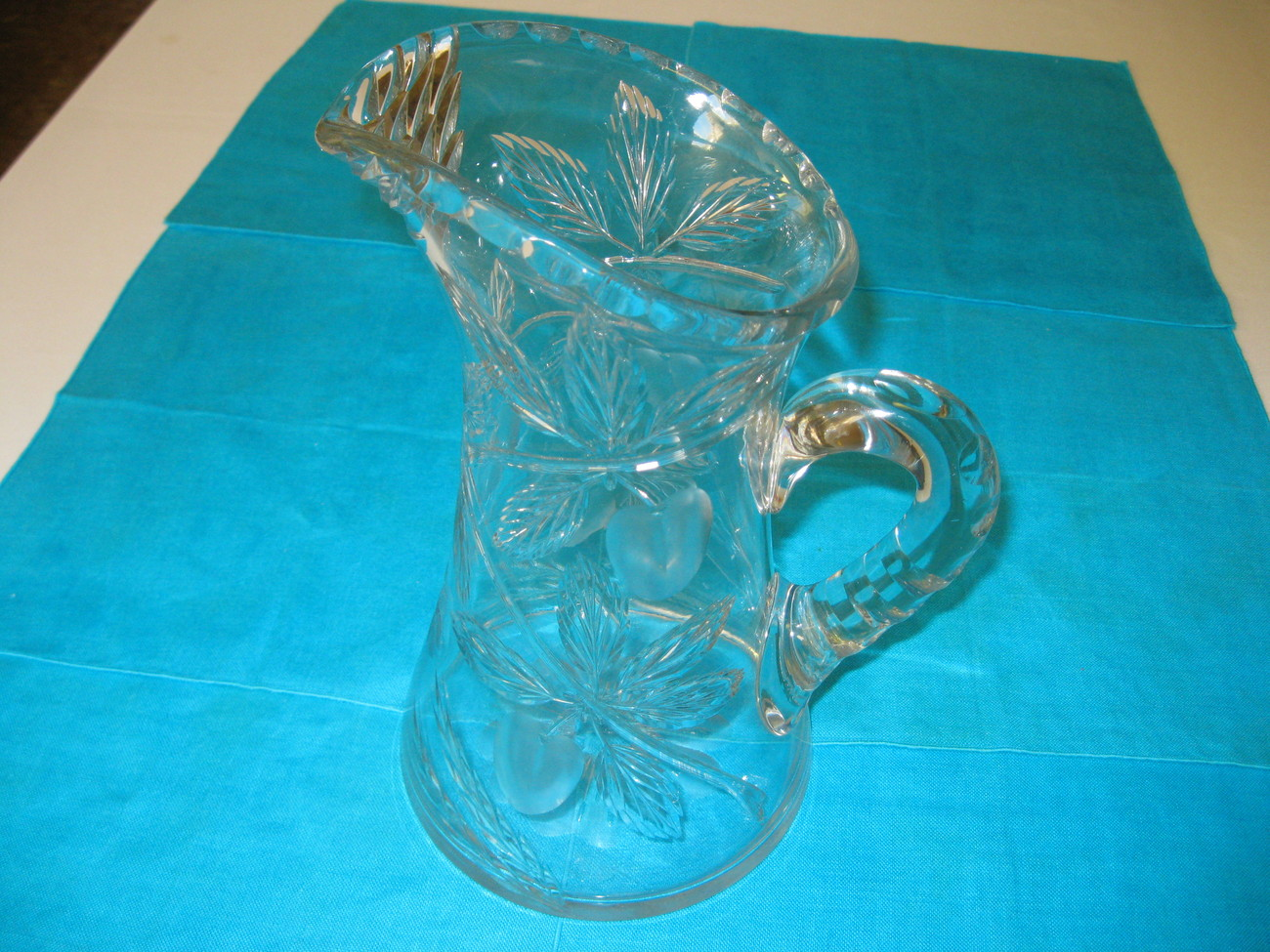 Elegant American Brilliant Glass Clear Crystal Cherry Pattern Pitcher