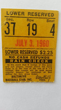 Ticket Stub for White Sox at Baltimore Orioles on July 3, 1960-Herb Score - $7.97