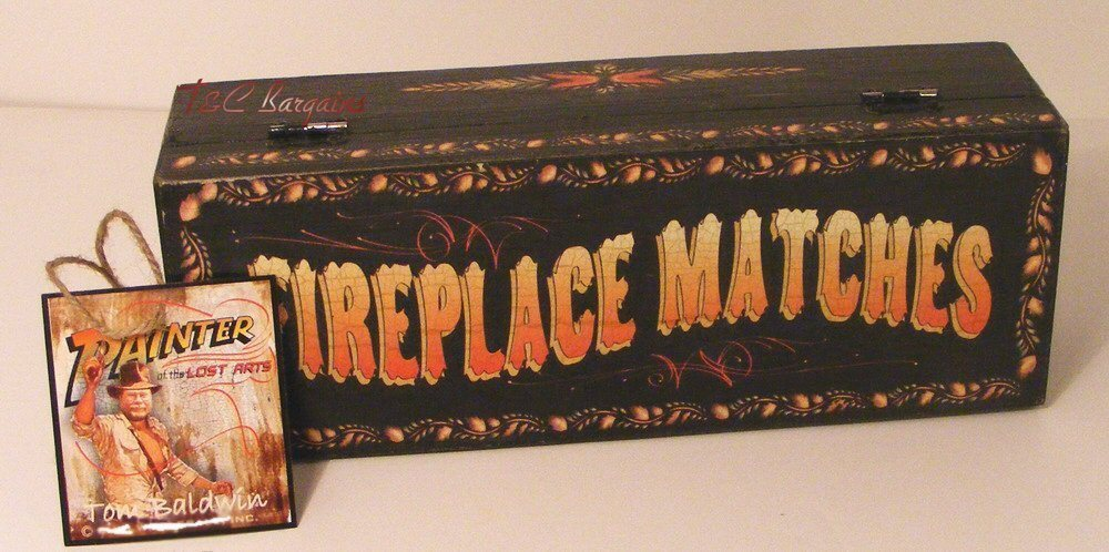 Primary image for Primitive Fireplace Matches Wooden Black Painted Box