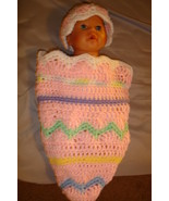 (42)Hand crocheted  Easter egg cocoon & beanie/cap/hat set for baby/phot... - $20.00