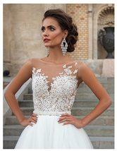 Lace Appliques Beach Bridal Gown Princess Wedding Dresses White/Lvory Buttons image 3