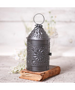 """PRIMITIVE 10"""" Colonial Punched Tin Lantern in Smokey Black Finish Accent... - $29.65"""
