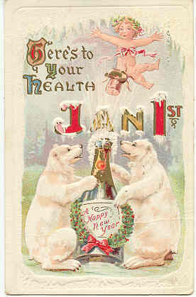 Here s To Your Health New Year Vintage Post Card