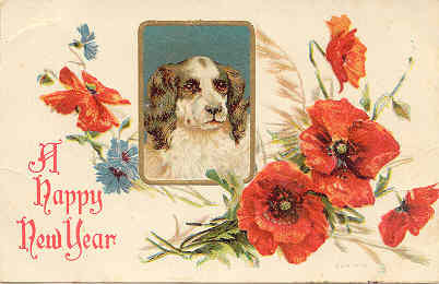 A Happy New Year Vintage Post Card