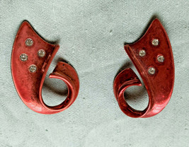 1960s carhop J earrings pink clipon metal crystal ribbon Halloween Large... - $11.64