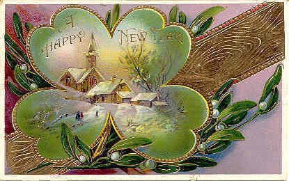 A Happy New Year 1918 German Post Card