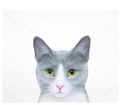 Wall Tapestry Wall Hanging Printed USA Cat 611 gray white by L.Dumas - $49.99+