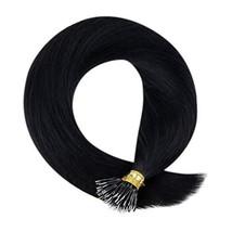 Hetto Nano Beads Hair Extension 20 Inch Nano Ring Hair Extensions Human Hair Bla