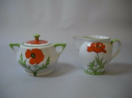CREAM AND SUGAR Set with POPPIES and Green LEAVES White PORCELAIN Brand ... - $29.69