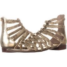 Marc Fisher Pepita Gladiator Zip Up Sandals 626, Gold Multi, 6.5 US - $27.82