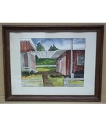 Handmade Patio Scene Watercolor 17 1/2in x 13in Unsigned  * Paper Glass - $55.35