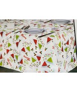 "PRINTED FABRIC LINEN TABLECLOTH SIZE 60""x84"" Oblong(6-8 ppl) CHRISTMAS D... - $15.83"