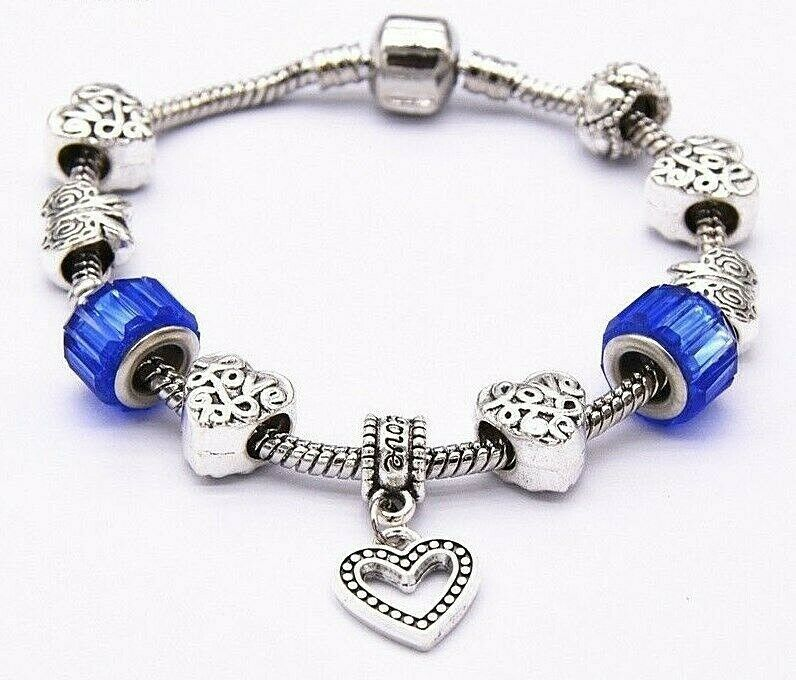 Primary image for Charm Bead Bracelet With Blue Accents 925 Sterling Silver NEW