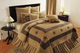 country primitive farmhouse Burlap STAR Black Tan hand quilted QUILT, Sham Skirt - $31.95+