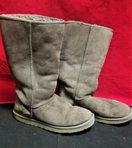 UGG Australia gray boots women 10 classic tall suede sheepskin lined winter - $65.00