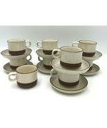 Denby Potters Wheel Rust Stoneware England 9 Mugs 8 Saucers Tea Coffee Cups - $56.99