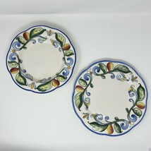 """Fitz & Floyd Ricamo Motif Rimmed Salad Bowl 10"""" And Plate 11"""" Scalloped Yellow - $62.36"""
