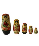 Vintage  Russian Nesting Dolls Hand Painted 5 pieces Colorful Bright - $25.74