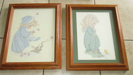 Lot 2 Vtg 1988 Needlepoint Embroidery Framed Precious Moments? Prints 17... - $46.36