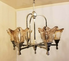 Amber Swirl Mouth Blown Glass Brushed Nickel Chandelier 6 Light Progress - $337.49