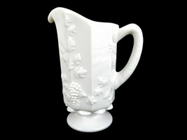 "9"" Milk Glass Pitcher, Westmoreland Paneled Grapes & Leaves, Milk, Juice... - $19.55"