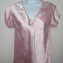Vintage Jones New York Night Gown M Pink Floral Polyester Stain New Old ... - $49.45