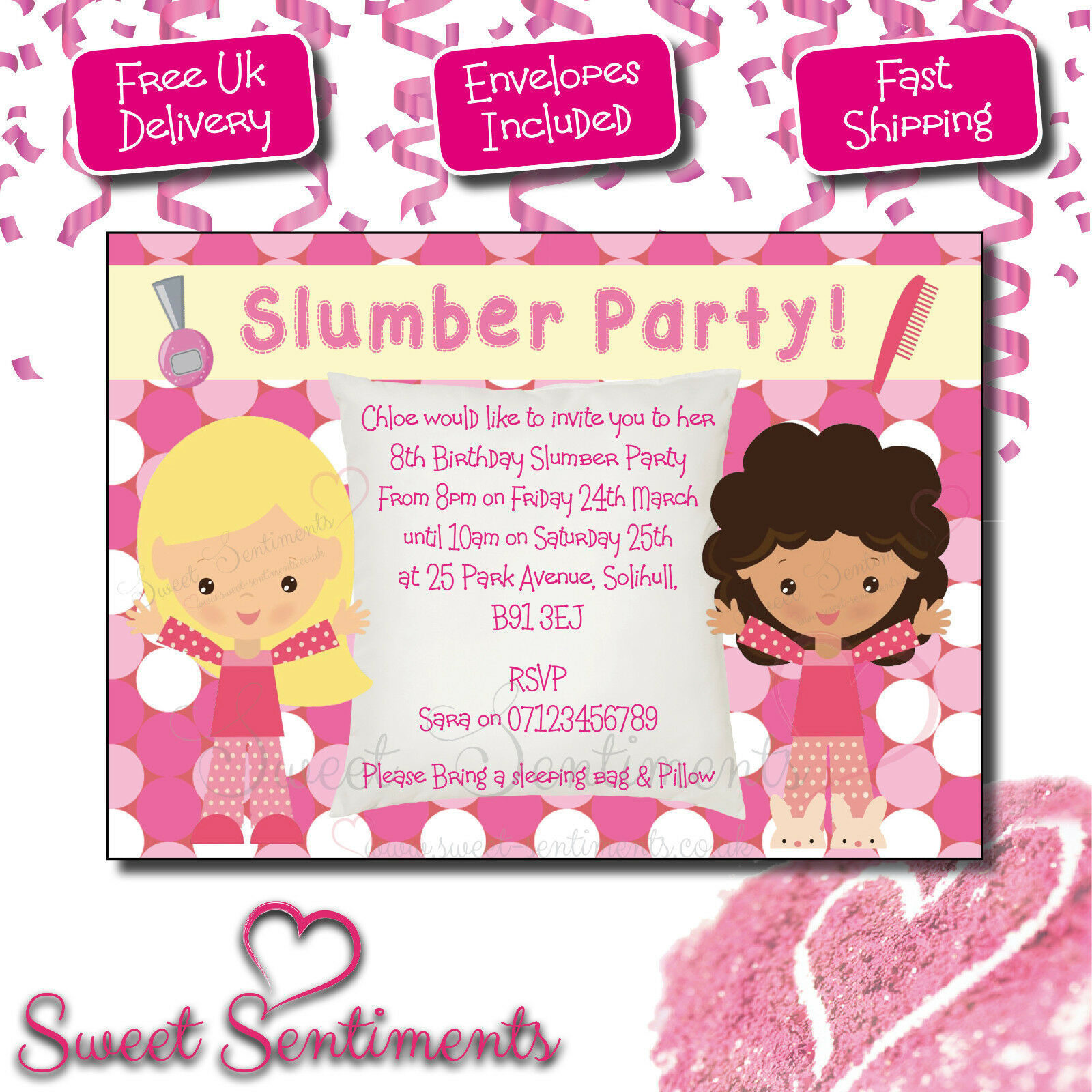 Personalised Kids Birthday Party Pyjama Party Slumber Party Invitations (IN2)