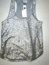 Womens Gap Top S New NWT Silver Sequin Tank Blouse Lined Hi Low Small Pretty image 2