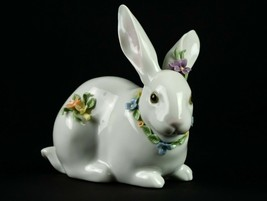 Lladro Attentive Bunny with Flowers 6098 Figurine Gloss Artist Hand Sign... - $93.10