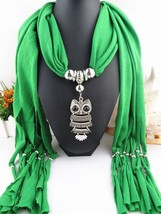 Scarf Pendant Necklace Women Green Color Tassel Fringe Shawl Long Size J... - $8.25