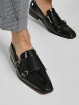 Handmade Men Oxford formal double monk Patent leather shoes, Men dress shoes - $164.99