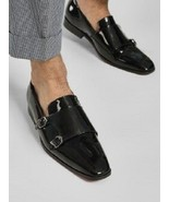 Handmade Men Oxford formal double monk Patent leather shoes, Men dress s... - $164.99