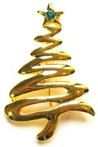 Vintage Gold Tone, Freeform Christmas Tree Pin - $17.10