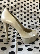 Brian Atwood Nude Bambola Peep Toe Stiletto Platform Patent Leather Pumps - $69.99